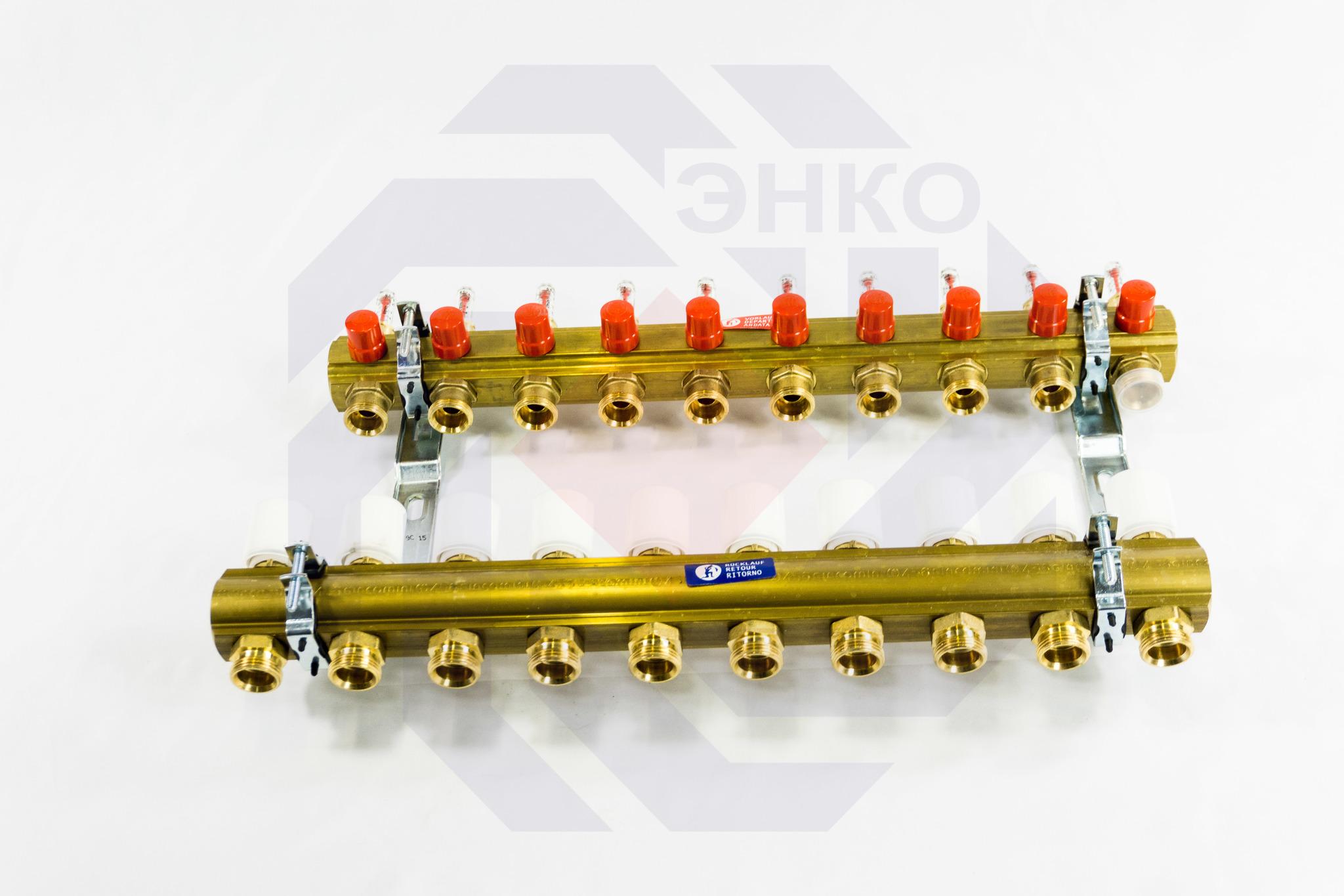 Комплект коллекторов с расходомерами GIACOMINI R553F 10 контуров