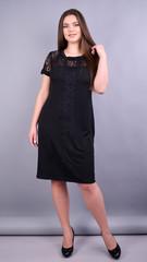 Ваниль. Комбинированное платье плюс сайз. Черный.