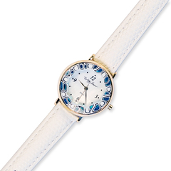Белые женские наручные часы кожаный ремешок