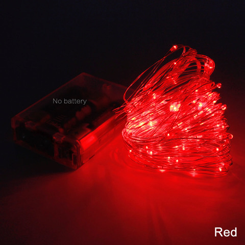 Гирлянда тонкая проволока лед красная на батарейках