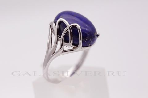Кольцо с лазуритом из серебра 925