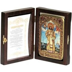 Инкрустированная Икона Святитель Тихон Задонский 15х10см на натуральном дереве, в подарочной коробке