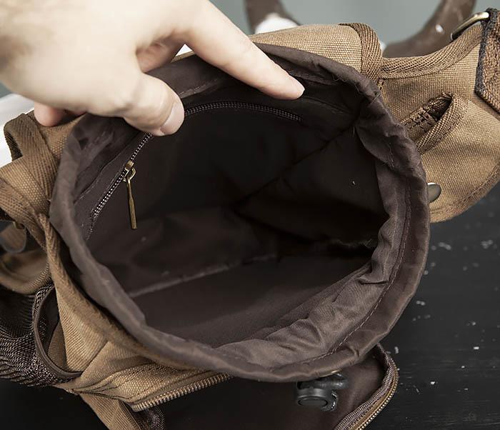BAG307-2 Текстильная набедренная сумка коричневого цвета фото 14