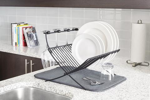 Сушилка для посуды c ковриком Xdry серая Umbra