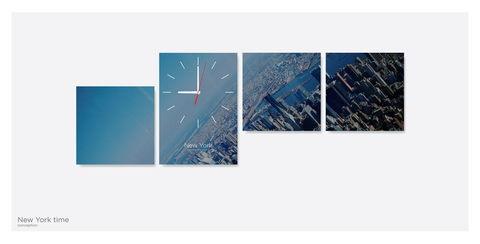 Картина из 4х модулей с часами