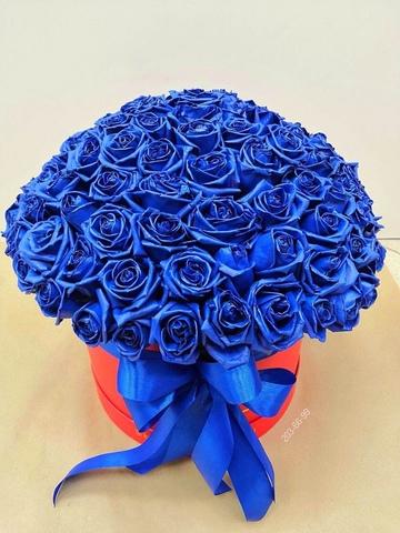 101 синяя роза в коробке #26878