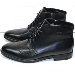 Кожаные ботинки зимние мужские Ikoc 3640-1 Black Leather.