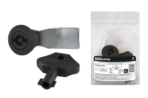 Замок-защелка для металлического бокса (цилиндр и корпус из черного пластика) TDM
