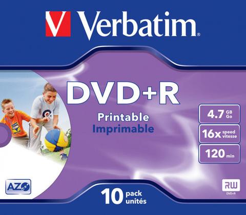 Диск DVD+R Verbatim 4.7Gb 16x Jewel case (10шт) Printable (43508)