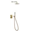 Встраиваемый смеситель для душа с душевым комплектом TZAR K3415021OC золотой, на 2 выхода - фото №2
