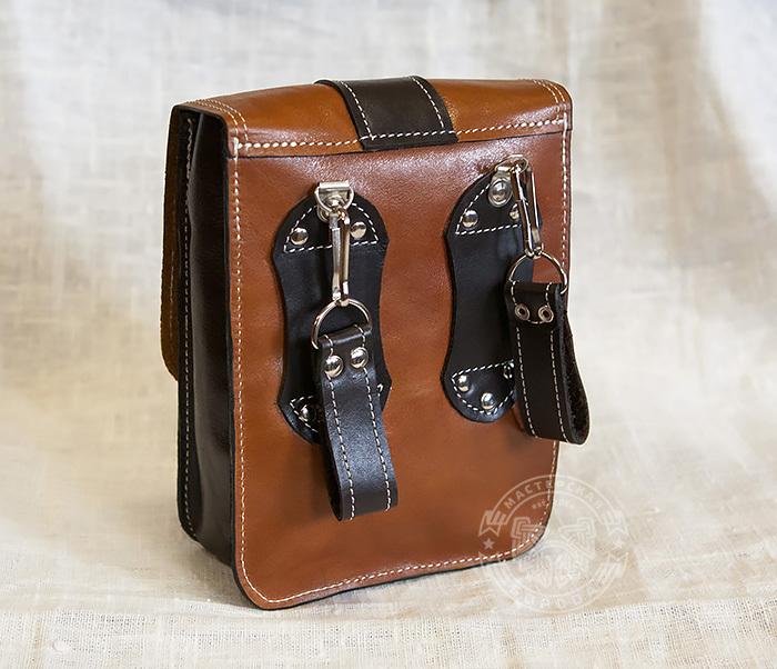 BAG379-2 Мужская кожаная сумка на пояс коричневого цвета, ручная работа фото 05