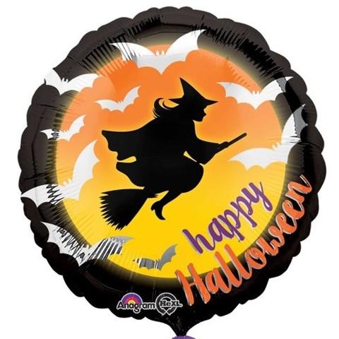 Шар круг «Ведьма на метле - Happy Halloween»