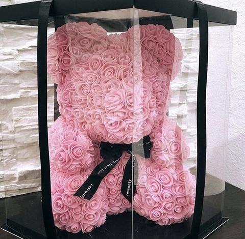Мишка из роз 40 см в подарочной коробке #3531