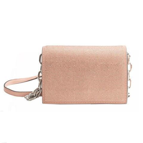 Розовая сумка-клатч со стразами