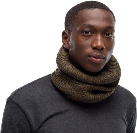 Вязаный шарф-труба с флисом Buff Neckwarmer Knitted Polar Lyne Bark фото 2