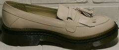 Осенние женские туфли кожаные женские Markos S-6 Light Beige.