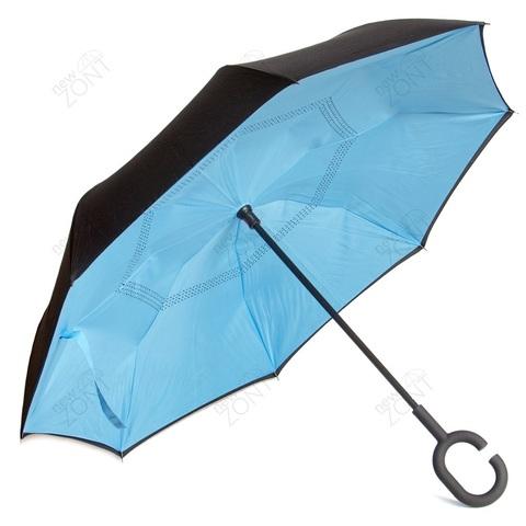 Умный зонт наоборот голубой механический