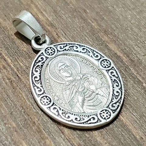 Нательная именная икона святая Виктория (Ника) с серебрением кулон медальон с молитвой