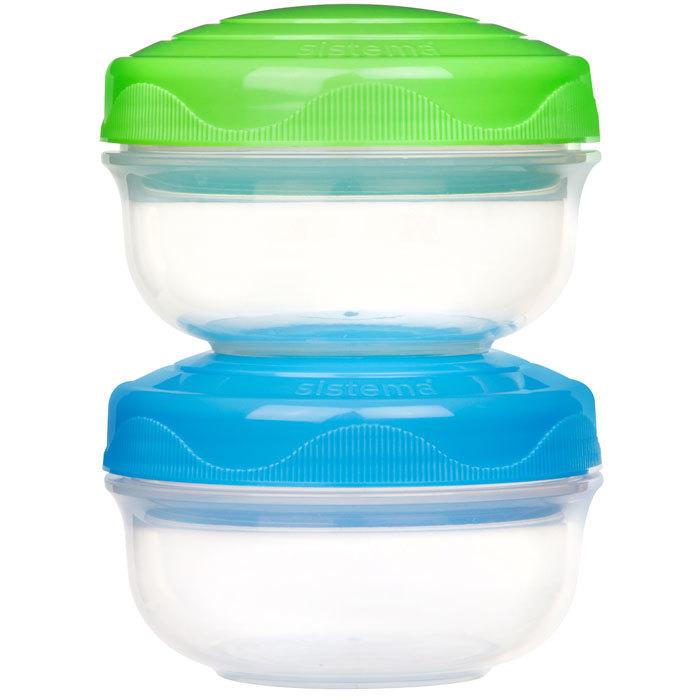 """Набор порционных контейнеров Sistema """"TO GO"""" 210 мл, 2шт., цвет Зеленый/Голубой"""