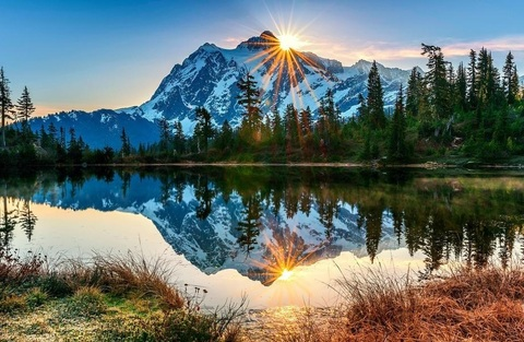 Алмазная Мозаика 40x50 Озеро у гор (арт. TC637 )