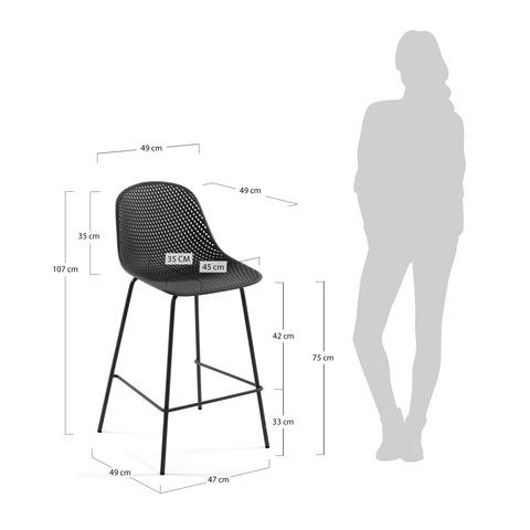 Барный стул Quinby серый