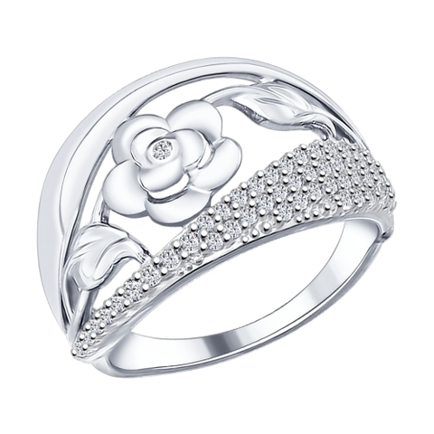 94012006- Кольцо из серебра с фианитами