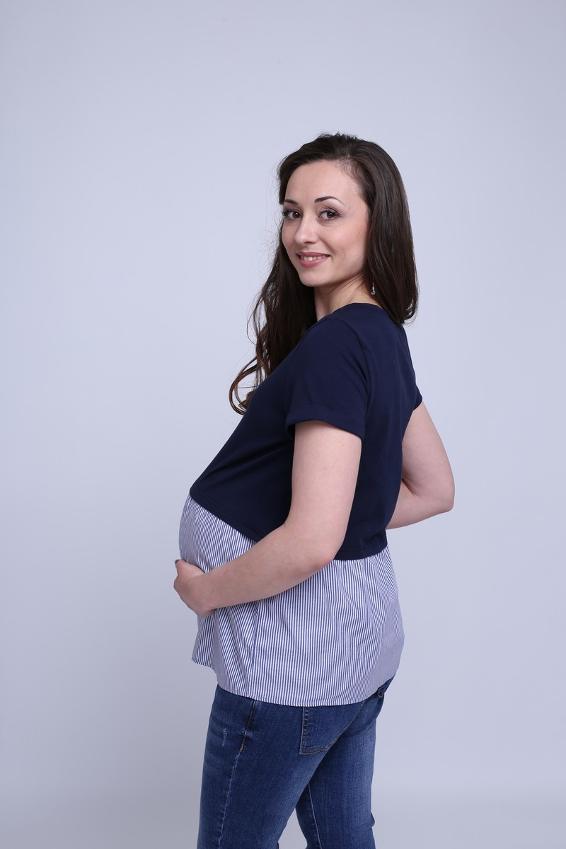 Футболка для беременных 09591 синий
