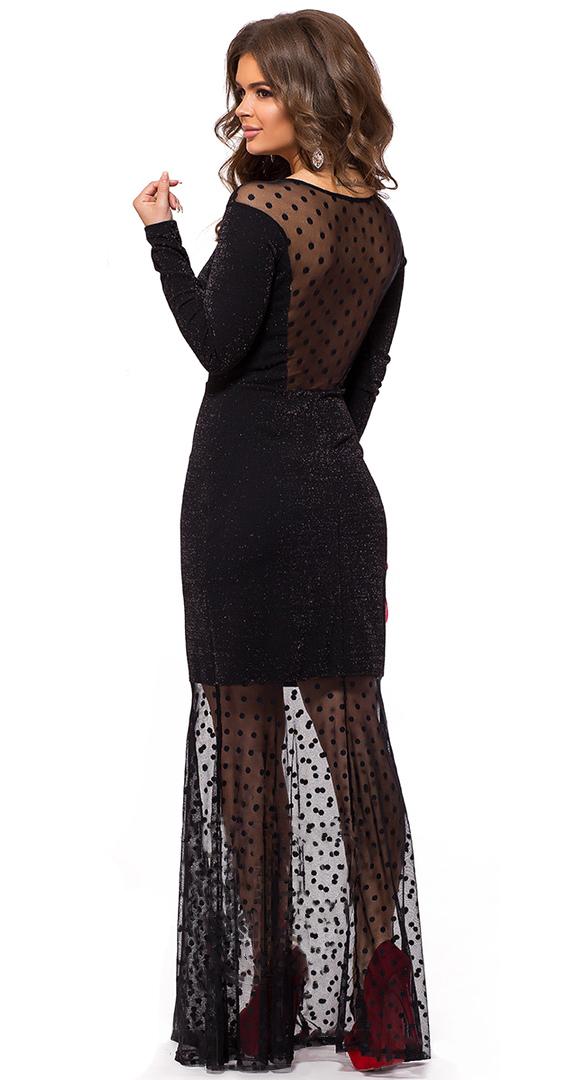 Вечернее платье в пол с люрексом, черное