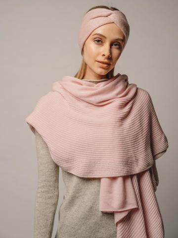 Женский шарф розового цвета из шерсти и кашемира - фото 1
