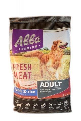 ABBA Premium Fresh Meat Adult корм для собак всех пород старше 1 года, с ягненком и рисом 12 кг.