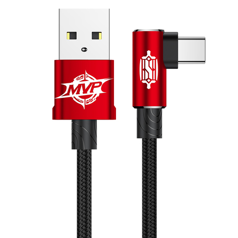 Кабель Baseus MVP Elbow Type Cable USB For Type-C 2A 1M Red