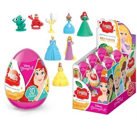 DISNEY ПРИНЦЕССА 3 Фруктовые пастилки в пластиковом яйце с подарком 1кор*6бл*12шт, 5г.