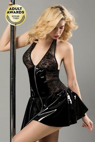Черное лаковое платье на молнии Harlow