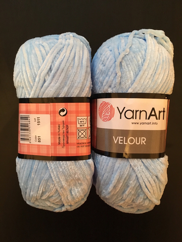 Пряжа Ярнарт ВЕЛЮР цвет 851 голубой