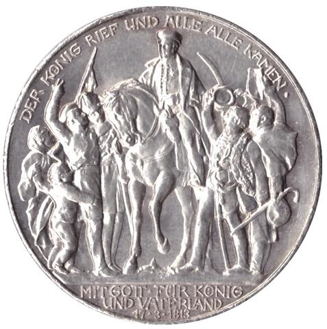 3 марки 1913 год 100 лет победы над Наполеоном, Германия-Пруссия. XF-AU