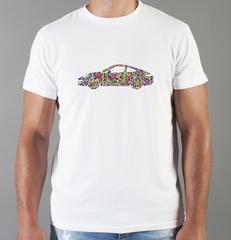 Футболка с принтом Порше (Porsche) белая 007