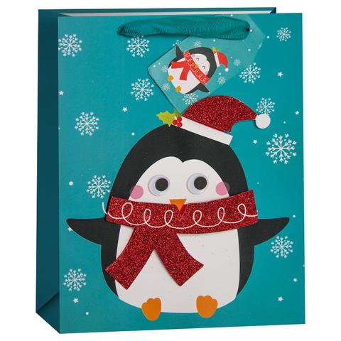 Пакет подарочный, Пингвин и снежинки, Бирюзовый, с блестками, 32*26*13 см