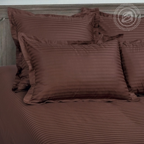 Комплект постельного белья Шоколад Страйп-сатин