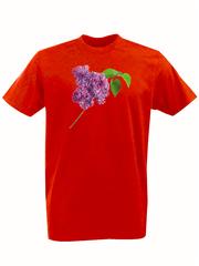 Футболка с принтом Цветы (Сирень) красная 001