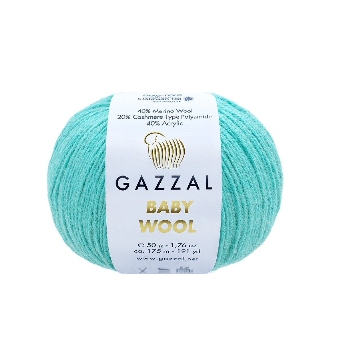 Пряжа Gazzal Baby Wool 820 бирюза
