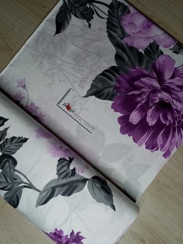 Премиум ранфорс Фиолетовые цветы на белом