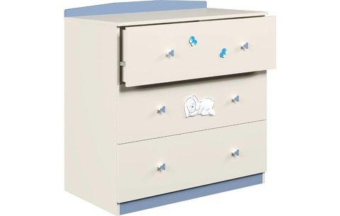 Комод Polini kids Зайки 3190, бежевый-синий