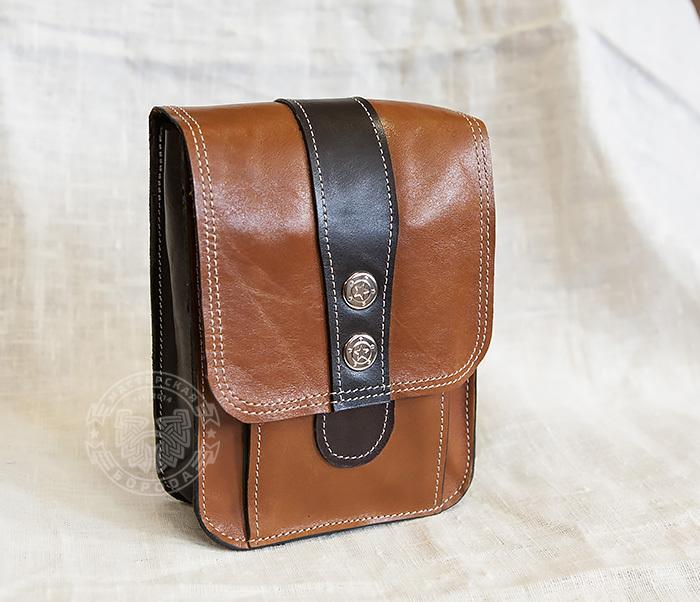 BAG379-2 Мужская кожаная сумка на пояс коричневого цвета, ручная работа