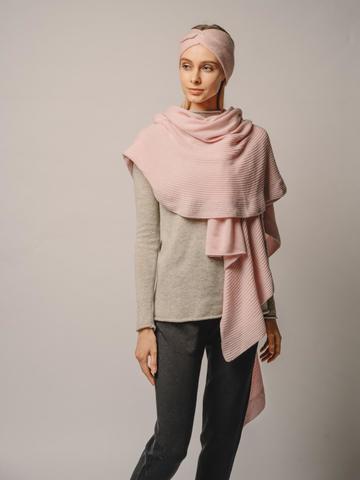 Женский шарф розового цвета из шерсти и кашемира - фото 4