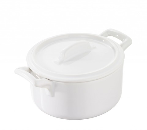 Круглая фарфоровая  кокотница  с крышкой, белая, артикул 641587, серия Belle Cuisine