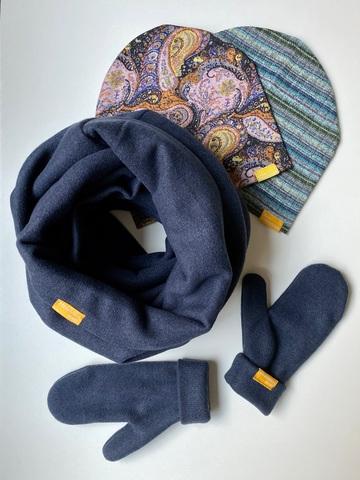 Комплект шерстяной с варежками темно-синий с узором пейсли и с полоской