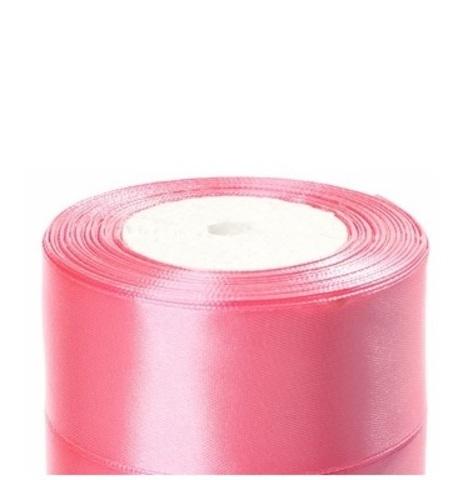 Лента атласная (размер:40мм х 25 ярдов) Цвет:розовый