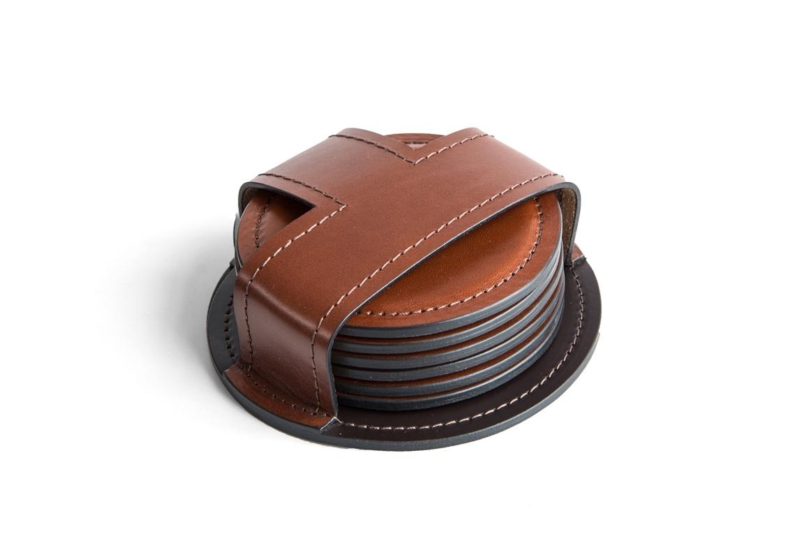 Набор костеров (6 шт) PREMIUM из кожи Full Grain Toscana/Cuoietto шоколад