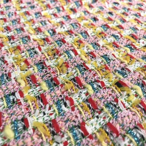 Ткань твид Chanel оригинал цвет яркая клетка 3092