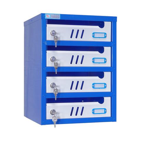 Ящик почтовый ЯПС-3 4-секционный металлический белый/синий (310 x 320 x 420 мм)